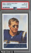 2001 Topps Gallery Drew Brees San Diego Chargers RC Rookie PSA 10 GEM MINT