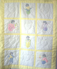 Hand Sewn Asian Doll Quilt Yellow with reverse embroidery Beautifully made