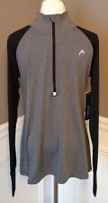 NWT Head L Black And Gray Long Sleeve 3/4 Zip Pullover Athletic Slim Fit Top