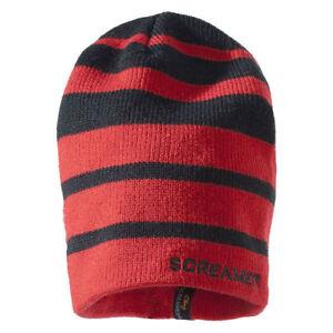 Unisex Kids' SCREAMER Frontside Beanie RED/BLACK Striped Winter Ski Snow Hat NWT
