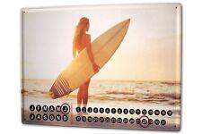 Dauer Wand Kalender Sexy Girl  Surfer Girl Metall Magnet