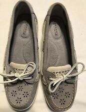 Sperry Top Sider Leather Suede Boat Shoes Laser Cut Flowers Womens 6 Gray Reduce