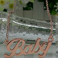 Women Crystal Choker Necklace Gold/Silver Pendant Chain Jewelry BABY Letter