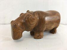 Hand Made Carved Solid Block Wood African Folk Art Large Figurine Hippopotamus
