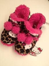 Brand New Hello Kitty Fluffy Animal Print Girls Booties (Leopard Print)