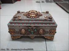 Tibet Tibetan Silver 24K gild inlay turquoise Red coral beryl jewel box