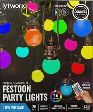 Lytworx Colour Changing Festoon Party Lights 20 Bulbs 9.5m Long & Remote Control