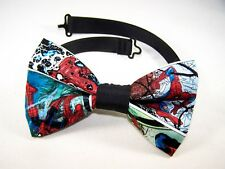 NEW FABRIC BOW TIE W/ Adjustable Strap * SPIDERMAN *Handmade USA*FREE SHIPPING B