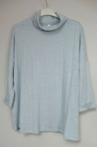 Phase Eight Ricki Rib Snuggle Roll Neck Top - Blue - Size 10 -18