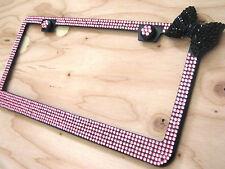 Black Coated 6Row Pink Bling Glass Rhinestone w Black Bow & 2 Screw Caps