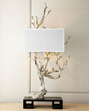 """Unique New Silver Tree Branch Table Lamp 51"""" Tall Faux Bois Modern Black & White"""