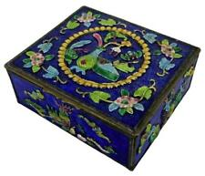 Antique Asian Chinese Chinoiserie Still Life Enameled Brass Cigarette Snuff Box