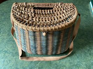 Vintage Large Fly Fishing Creel Fisherman's Wicker Fishing Basket Woven Strap