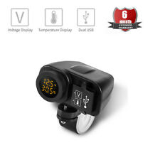 LED Display Yellow Motorcycle Dual USB Charger Voltmeter + Thermometer Gauge