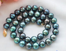 New 9-10mm  PEACOCK BLACK ROUND Freshwater cultured PEARL NECKLACE  18""