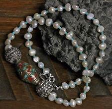 edle Süßwasserperlen Barock Perlenkette 925 Silber UNIKAT Edelstein-Mosaikperle
