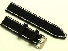 22mm Black/White Rubber Men's Watch Strap Stainless Polishing Buckle