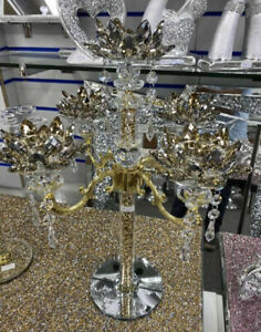 Gold Crushed Diamond 5 Candle Holder Faceted Balls Sparkly Silver Crush Crystal