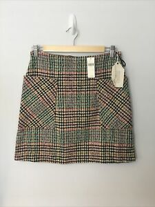 ANTHROPOLOGIE Mini Skirt Tweed Check Plaid Multi UK 8 BN w/ Defect rrp £70