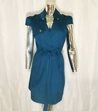 Voom By Jay Royal Blue Retro Pinup Cap Sleeve Stretch Trench Coat Style Dress L