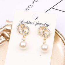 Fashion Letter CD Style Diamonds Pearl Earrings 925 Silver