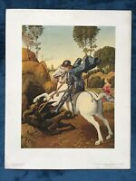 Vintage National Gallery Of Art Print ST. GEORGE AND THE DRAGON by RAPHAEL
