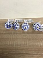 Sass & Belle 4 Ceramic White & Blue Screw Knob Drawer Cupboard Door Pull Handles