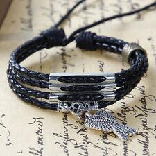 Armband Leder schwarz mehrsträngig Flügel Zugverschluss