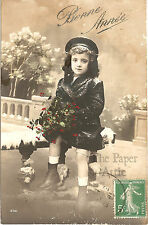 Little Girl with Holly on Snow Covered Bench Antique French Xmas Photo Postcard