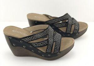 Patrizia By Spring Step Aristocrat Womens Black Wedge Sandles Size 5.5