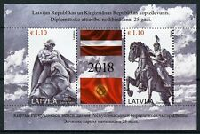Latvia 2018 MNH Diplomatic Relations JIS Kyrgyzstan 2v M/S Flags Statues Stamps
