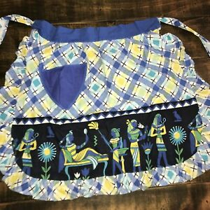 Vintage Smock Cooking Apron Blue Flowers With Pocket Egyptian