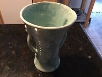 "Vintage Bush Pottery 8"" Handled pottery vase green/sea foam  USA"