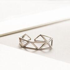 Ring Geometrisch Dreieck echt Sterling Silber 925 rhodiniert 50-55 offen Damen