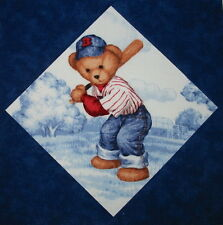 9 Baseball Blue Jean Teddy Bear Quilt Top Blocks ~