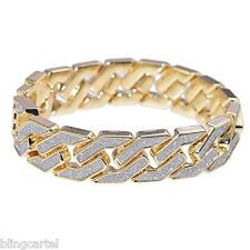 Sand Blast Bracelet Cuban Chain Link Hip Hop Gold Tone Heavy 18MM Wide Mens 8.5""
