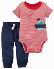 NEW Carters Boys Red / Blue Walrus Pirate Baby Bodysuit & Jogger Pants Outfit