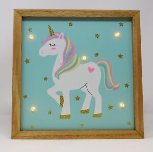 Rainbow Unicorn Wooden Light Up Wall Plaque Girls Bedroom Magical Night Lamp