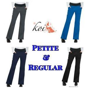 New Women's Koi Stretch Liza Pant Charcoal/RoyalBlue/Black/Navy Petite & Regular