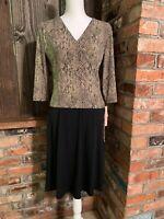 DRESSBARN Snake Print Black Dress Size 6 - 3/4 Sleeve Knee Length