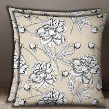 Cotton Poplin Beige Cushion Cover Decorative Floral Print Pillow Case Throw