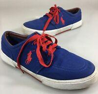 Polo Ralph Lauren Mens 9.5 D Faxon Blue Canvas Red Laces Gym Shoes Sneakers