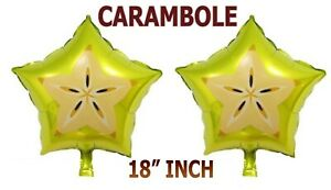 "18"" Foil CARAMBOLE Helium Balloons Birthday Party Air Round Solid Colour Fruit"
