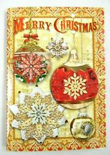 Punch Studio~Box 10~Folk Ornaments~Gold Foil Embellished~Christmas Cards~New!