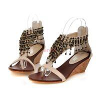 Roma Open Toe Wedge Heel Back Zipper T-Strap Boho Womens Sandal Shoes Size E-57