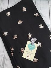 HECTOR HONEY BEE FOIL SCARF BLACK ROSE GOLD  SISTER MUM GIFT FRIEND PRESENT