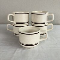 Vintage TemperWare By Lenox Coffee Mugs Tea Cups SET 5 Stackable Brown 8 oz Euc