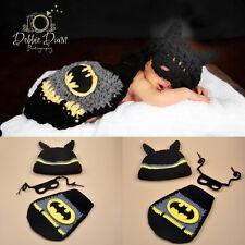 Newborn Batman Cartoon Hat Mask Cape Diaper Photography Props Knit Crochet Set