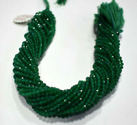 """Natural Green Onyx Gemstone Rondelle Faceted Beads 3 mm 13"""" 1-5 Loose Strand"""
