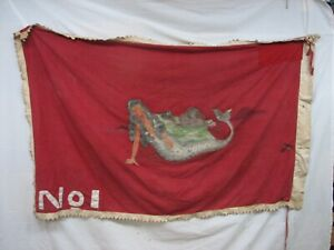 Antique Nautical Mermaid Sailing Ship Flag Hand Made Boat Red Diving